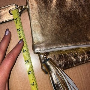Alessandro Mari Bags - GORGEOUS & GLAM Large Gold Leather wristlet/clutch